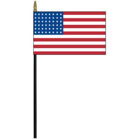 "old glory 48 star 4"" x 6"" printed rayon stick flag"