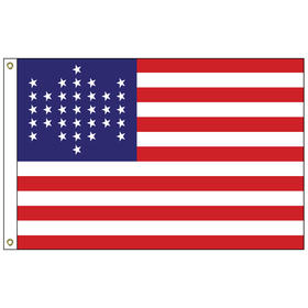 u.s. civil war 34 star 3' x 5' outdoor nylon flag w/heading & grommets