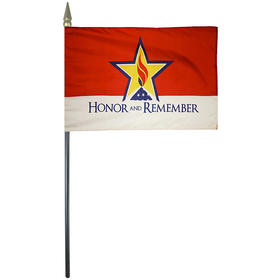 """honor & remember 4"""" x 6"""" rayon stick flag"""