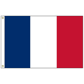 "france 12"" x 18"" outdoor nylon marine flag with heading and grommets"