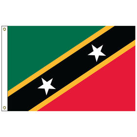 """st. kitts-nevis 12"""" x 18"""" outdoor nylon marine flag with heading and grommets"""