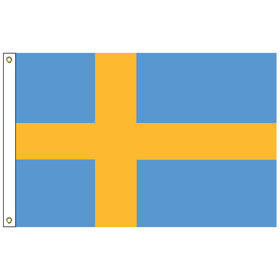 """sweden 12"""" x 18"""" outdoor nylon marine flag with heading and grommets"""