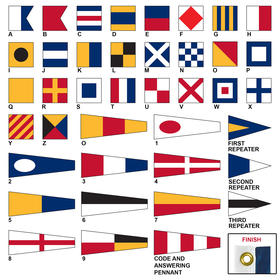 size 0 code signal flag set with heading & grommets