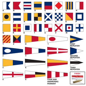 size 10 code signal flag set with line & toggle
