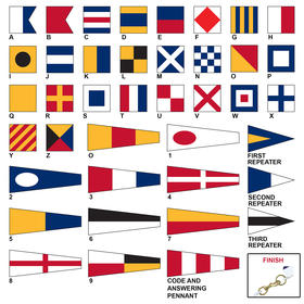 Size 14 Code Signal Flag Set with Heading & Snap Hooks