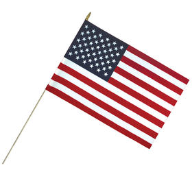 """24"""" x 36"""" lightweight cotton us stick flag with spear top on a 50""""dowel"""