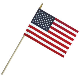 "4""x 6"" Lightweight Cotton US Stick Flag with Spear Top on a 10"" Dowel"