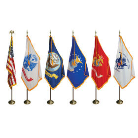 7' poles/3' x 5' flags - complete u.s. & military indoor set