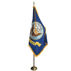 7' pole/3' x 5' flag - navy indoor parade set