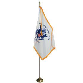 8' Pole/3' x 5' Flag - Coast Guard Indoor Parade Set