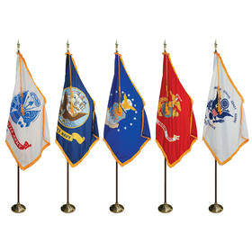8' poles/3' x 5' flags - military indoor presentation set
