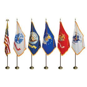 8' poles/3' x 5' flags - complete u.s. & military indoor set