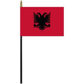 """albania 4"""" x 6"""" staff mounted rayon flag"""