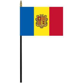"andorra 4"" x 6"" staff mounted rayon flag"