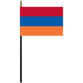 "armenia 4"" x 6"" staff mounted rayon flag"