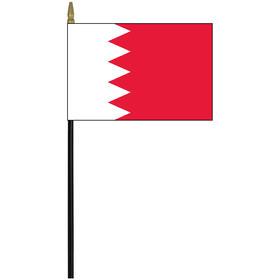 """bahrain 4"""" x 6"""" staff mounted rayon flag"""