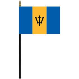 """barbados 4"""" x 6"""" staff mounted rayon flag"""