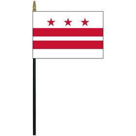 """district of columbia 4"""" x 6"""" staff mounted rayon flag"""
