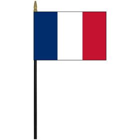 "france 4"" x 6"" staff mounted rayon flag"