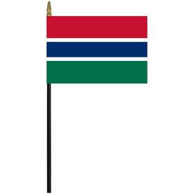 "gambia 4"" x 6"" staff mounted rayon flag"