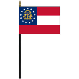 "georgia 4"" x 6"" staff mounted rayon flag"
