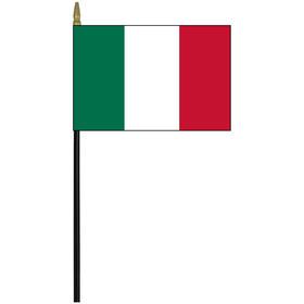 "Italy 4"" x 6"" Staff Mounted Rayon Flag"