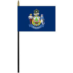 "maine 4"" x 6"" staff mounted rayon flag"