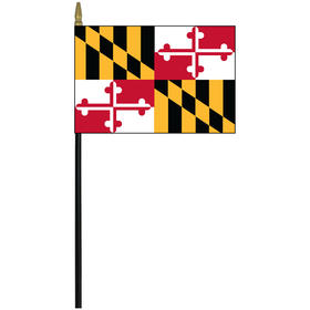 "maryland 4"" x 6"" staff mounted rayon flag"