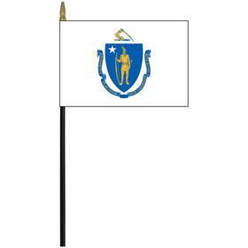 "massachusetts 4"" x 6"" staff mounted rayon flag"