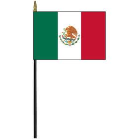 "mexico 4"" x 6"" staff mounted rayon flag"