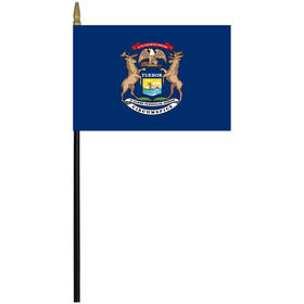 "michigan 4"" x 6"" staff mounted rayon flag"