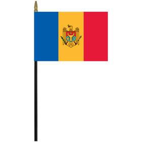 """moldova 4"""" x 6"""" staff mounted rayon flag"""
