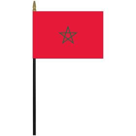 """morocco 4"""" x 6"""" staff mounted rayon flag"""