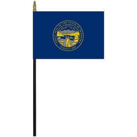 "nebraska 4"" x 6"" staff mounted rayon flag"