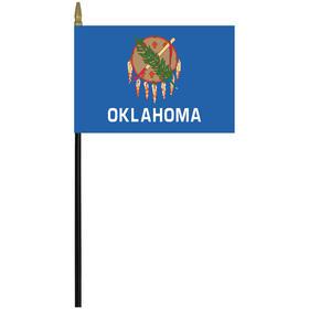 """oklahoma 4"""" x 6"""" staff mounted rayon flag"""