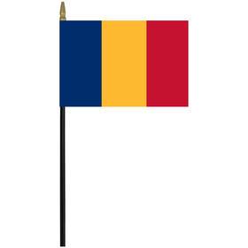 "romania 4"" x 6"" staff mounted rayon flag"