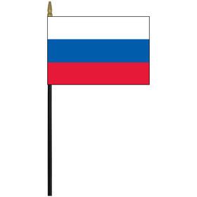 "russia 4"" x 6"" staff mounted rayon flag"