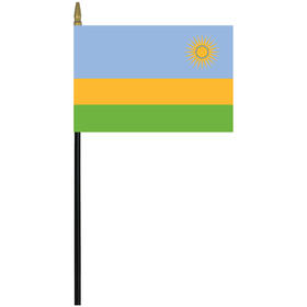 "rwanda 4"" x 6"" staff mounted rayon flag"