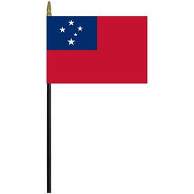 "samoa western 4"" x 6"" staff mounted rayon flag"