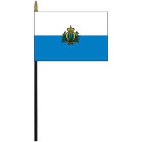 """san marino w/ seal 4"""" x 6"""" staff mounted rayon flag"""