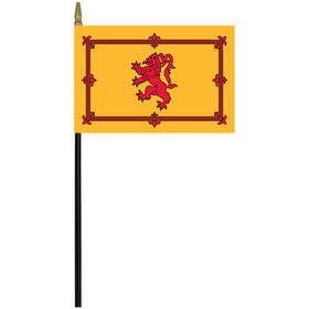"scotland w/ lion 4"" x 6"" staff mounted rayon flag"