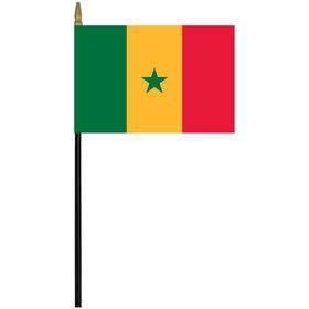 "senegal 4"" x 6"" staff mounted rayon flag"