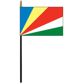 "seychelles 4"" x 6"" staff mounted rayon flag"