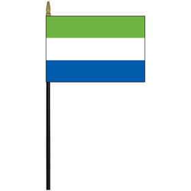 """sierra leone 4"""" x 6"""" staff mounted rayon flag"""
