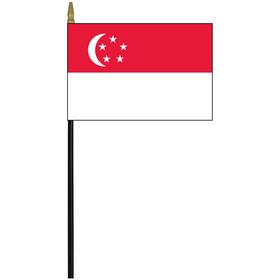 "singapore 4"" x 6"" staff mounted rayon flag"