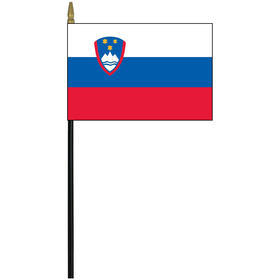 "slovenia 4"" x 6"" staff mounted rayon flag"