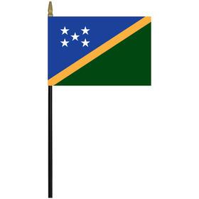 "solomon islands 4"" x 6"" staff mounted rayon flag"