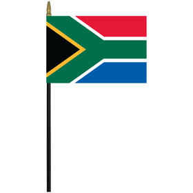 "south africa 4"" x 6"" staff mounted rayon flag"