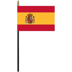"spain 4"" x 6"" staff mounted rayon flag"