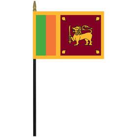 """sri lanka 4"""" x 6"""" staff mounted rayon flag"""